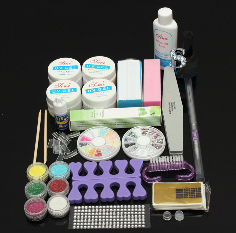 Professional Acrylic Nail Art Glitter Powder Glue File Kit UV Gel Tips Decor Tool Liquid Powder Manicure Kit Beauty Nails Sets cool acrylic nail art tips powder liquid brush glitter clipper primer file set kit 100
