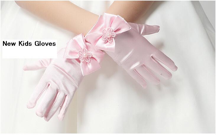 Hohe Qualität Elastische Mädchen Handschuhe Mädchen Satin Mit Bogen Perle Kurze Handschuhe Kinder Blumenmädchen Handschuhe Kinder Geschenk