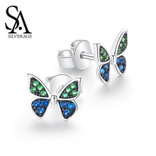 SA SILVERAGE Original Design 2019 New Tide Simple Female Small Temperament Butterfly Sterling Earrings Elegant Silver 925 Woman