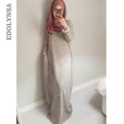 Рамадан Абаи 2019 мусульманское платье Серый Бисер Саудовская Аравия длинное платье Кафтан Исламская одежда Турецкая одежда Для женщин # D609