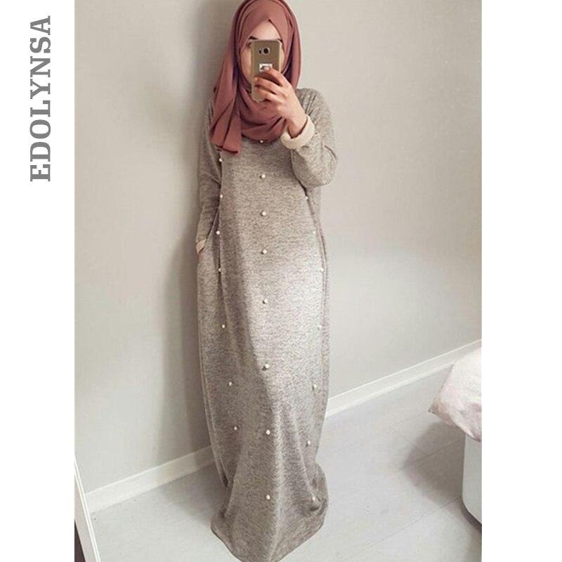 Arabie Perles Abaya 2019 Saoudite Longue Ramadan Musulmane Gris Robe 7gvIbmYf6y