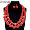 2016 New design uk Nigerian Wedding bridal 6 color African Acrylic Beads Jewelry Set Braided Chain Necklace / Earrings for women