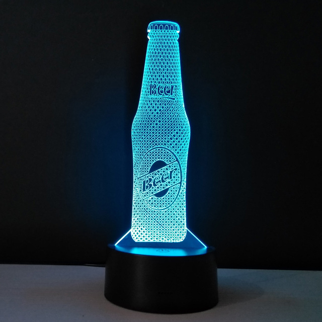 Cool Night Lamp Beer Bottle Shape 3d Visual Light Acrylic