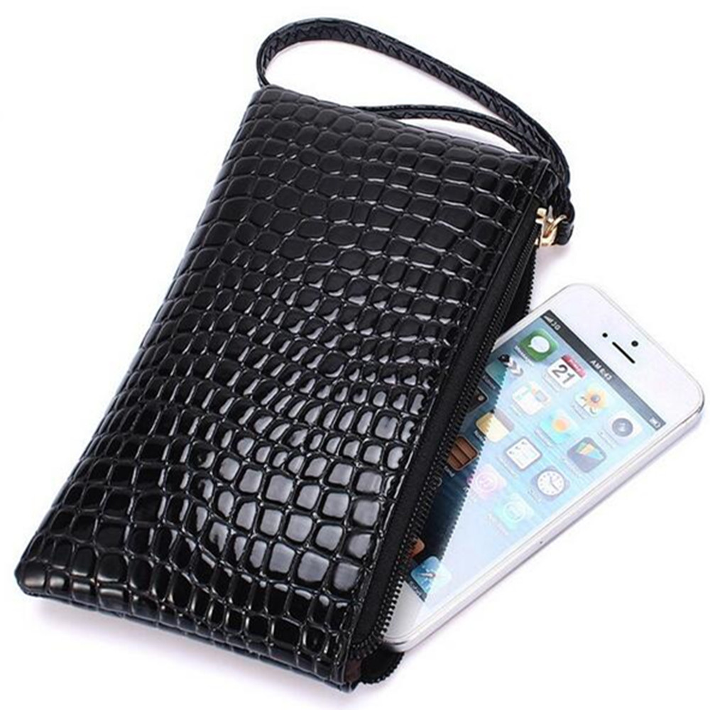 Artificial leather card case mini wallet coin change purse with key ring phone pouch