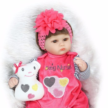 Soft Silicone reborn Dolls 16inch 42cm Doll Reborn Baby Brown Wig Girl Handmade Cotton Body Lifelike Bebe juguetes Babies Toys