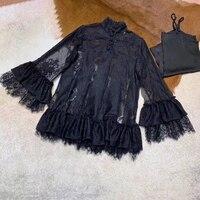 Элегантное, цветочное, кружевное Для женщин блузка рубашка с длинным рукавом Модные Качественные блузки Для женщин рубашка с расклешенными