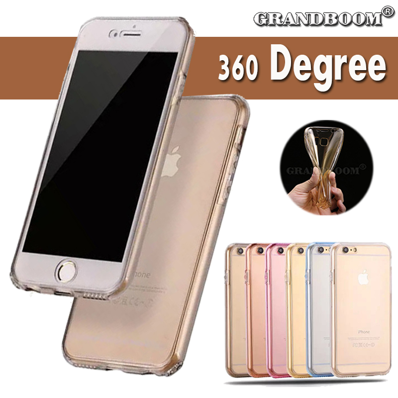 imágenes para 360 grados 100% cubierta del caso de tpu suave de cuerpo completo para iphone 7 6 6 s más se 5 5S galaxy s7 s7 edge note 5 4 a7 a8 a9 200 unids/lote