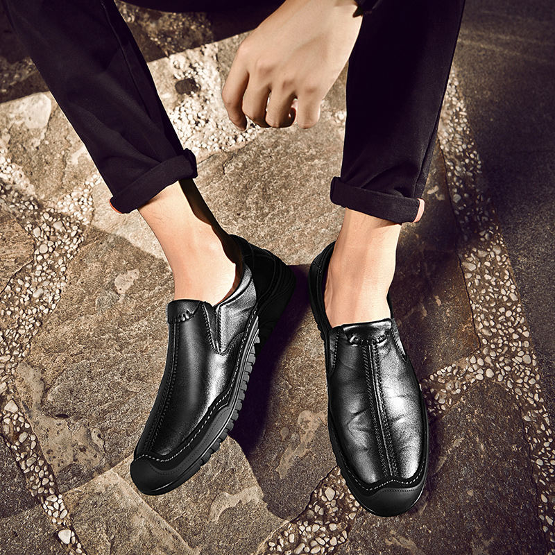 2019 new fashion men 39 s shoes causal leather loafers male spring autumn slip on shoe man platform driving handmade shoes for men in Men 39 s Casual Shoes from Shoes