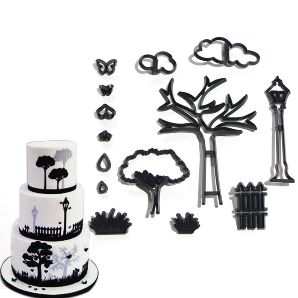 14Pcs/Set Park Theme Cookie Cutter Plastic Plant Tree Grass Street Lamp Fondant Cutter Cake Decorating Tools Baking Cupcake Mold