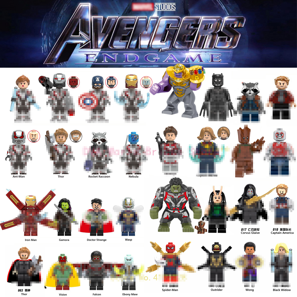 Captain Marvel Avengers Figures Endgame Thanos Spiderman Antman Thor Iron Man War Machine Building Blocks Bricks Toys
