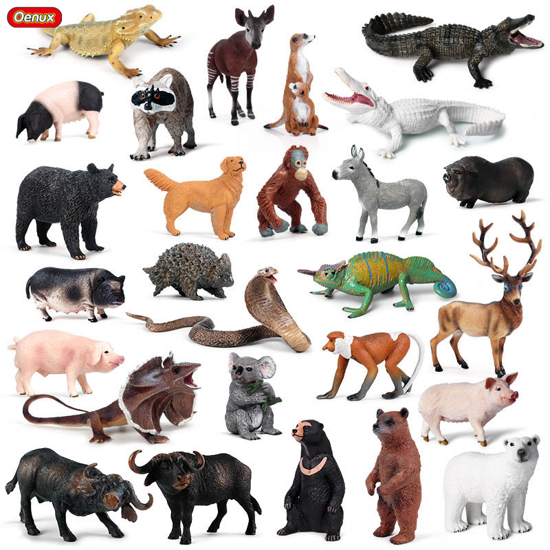 Oenux Forest Wild Animals Elk Bear Crocodile Snake Action Figure Figurines Farm Pig Dog Model PVC Collection Toys For Kids Gift