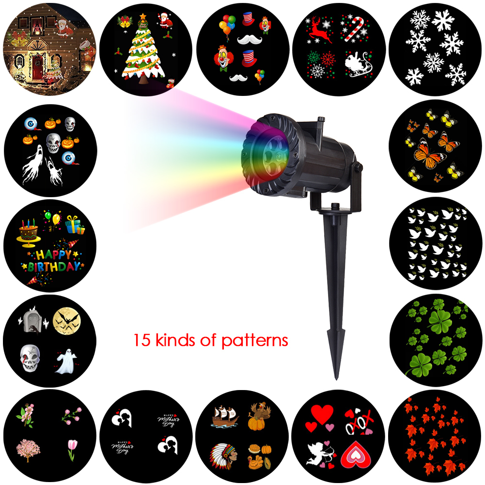 Projector LED Lamps Stage Light 180 Degree Rotation Christmas Halloween Party Landscape Light Garden Lamp Outdoor Lighting