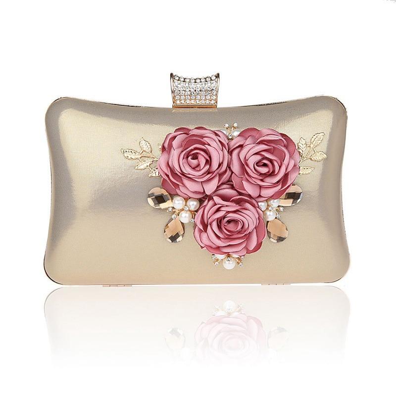 2018 high quality women handmade Pearl flowers Leaf evening bags mini wedding dinner bags luxury PARTY clutch purse Handbags