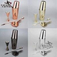 Bar Set: Silver/Copper/Gold/Black Plated Shaker Barware Set 4 Pieces Bartender Kit Include Shaker, Jigger,Strainer & Spoon