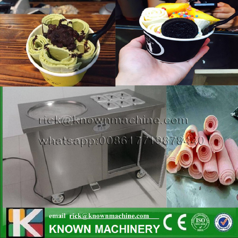 The 304 stainless steel 1+6 110v/220v 45cm R410A single pan with six cabinets fried ice cream machine free  shipping by sea