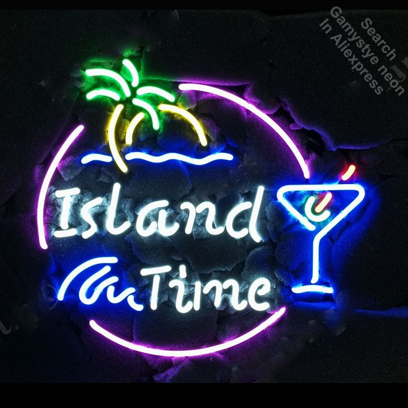 Island Time Martini Palm Tree Neon Sign Handcrafted Neon Bulbs Sign Glass Tube Iconic Decorate Room Wall Lamp signs Dropshipping цена