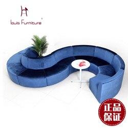 Louis Moda Boutique Hotel Sofás Mobiliário de Escritório Criativo Rodada Combinação Sofá Arte de Pano ou Couro do PLUTÔNIO