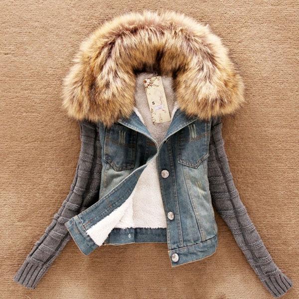 2014 New Fashion Long Knit Sleeve Removable Fur Collar Wool Denim Jacket Women Short Slim Cotton Fleece Jacket S-4Xl H2973 inc new beige women s size small s faux leather knit motorcycle jacket $99