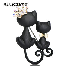 Blucome Couple Black Cat Brooches Austrian Crystal Queen Animal Sweater Decoration Gold color Women Suit Bow