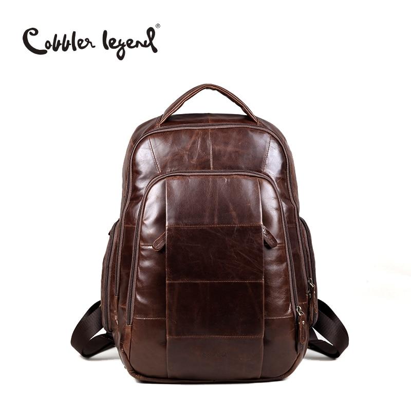 Cobbler Legend Brand 2019 Retro Style back pack Charming Genuine Leather Teenage Boys s Men s
