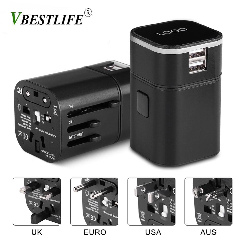 VBESTLIFE All-in-One Universal International Plug Adapter World Travel Converter 2 USB Port black