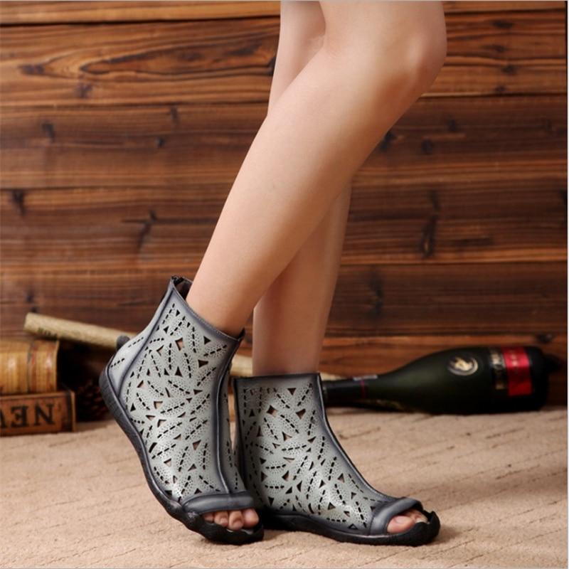 grey Cuir Sandales Zip Plat Avec Gris Chaussures Noir Femmes En Décontracté Black D'été Véritable FJKc3Tl1u