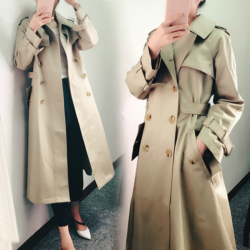 Chic Woman Windbreaker Slim Thin Long Double Breasted Coat Plus Size Khaki   Trench   Coat Female Spring Casual Overcoat Girls Tops