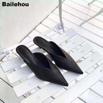 Bailehou Primavera Verano mujeres Mule zapatos puntiagudos zapatos de tacón medio de pista de señora zapatillas de marca medio cerrado moderno toboganes de gatito