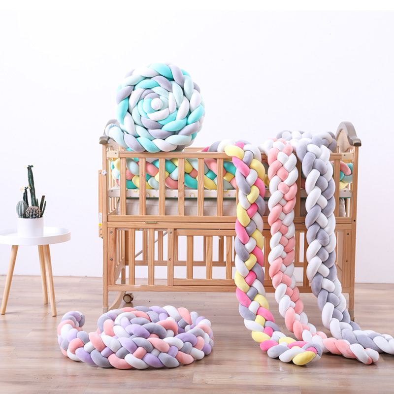 2M3M 4 Knot Soft Baby Bed Bumper Crib Sides 4 Braid Newborn Crib Pad Protection Cot