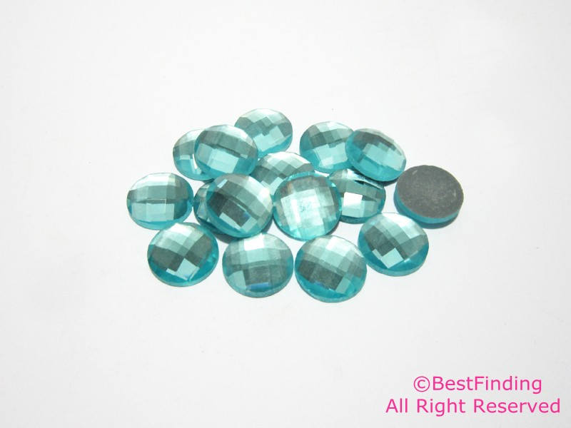 12mm Crystal Cabochon Aquamarine flat backs Crystal faceted Cabochon for jewelry making
