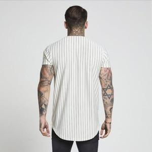 Image 4 - Fashion Summer 2018 2019 Men Streetwear Hip Hop T shirts Sik Silk Embroidered Baseball Jersey Striped Shirt Men Brand Clothing