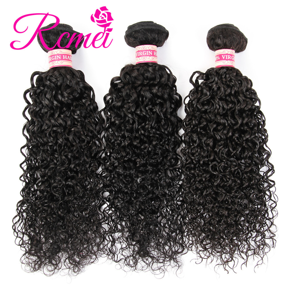 Rcmei Hair Peruvian Virgin Hair 3 bundles/LOT Kinky Curly Hair 12-30 inch Unprocessed Human Hair Weave Bundles