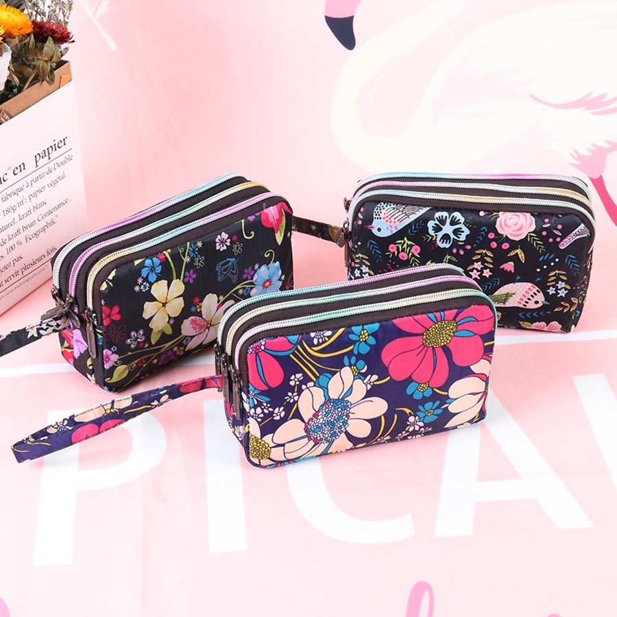 3 Zipper Women Waterproof Purse Cell Pouch Handbag Wallet Wristlet Bag 2019 New Fashion Beauty Heart/ Stars/ Hearts/ Bags