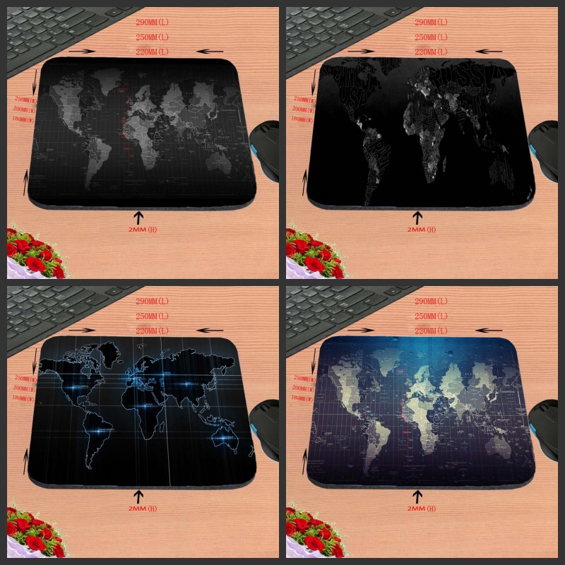 Customized Old Map Black New Square Luxury Printing Silicon Mouse Pads Aming Gaming Rubber Mousepad Size 18*22/25*20/29*25*2cm