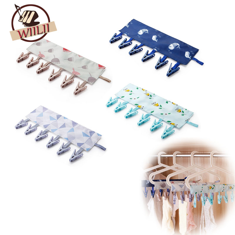 Multifunction Fresh Clothes Pegs Portable Socks Drying Racks Folding Cloth Hanger Clips Bathroom Tool