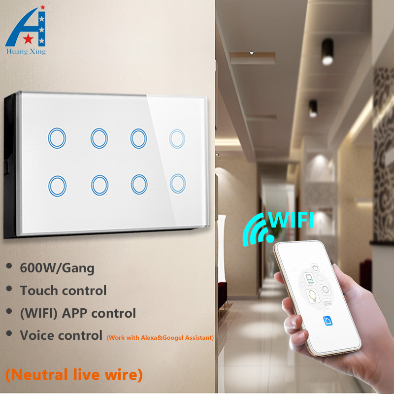 UK Standard 8 Gang 146 type Wifi Wall Smart touch light Switch, Wireless App Control with Alexa Google Assistant voice control