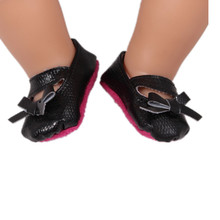 Black Doll Shoes With Bows Fit 43cm Doll Baby Born Zapf Doll Accessories For Children Girl