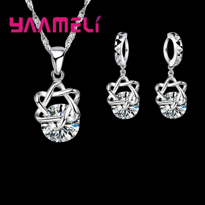 Big Discount Top Quality 925 Sterling Silver Shining CZ Fashionable Necklace Earrings Jewelry Sets For Women Wedding