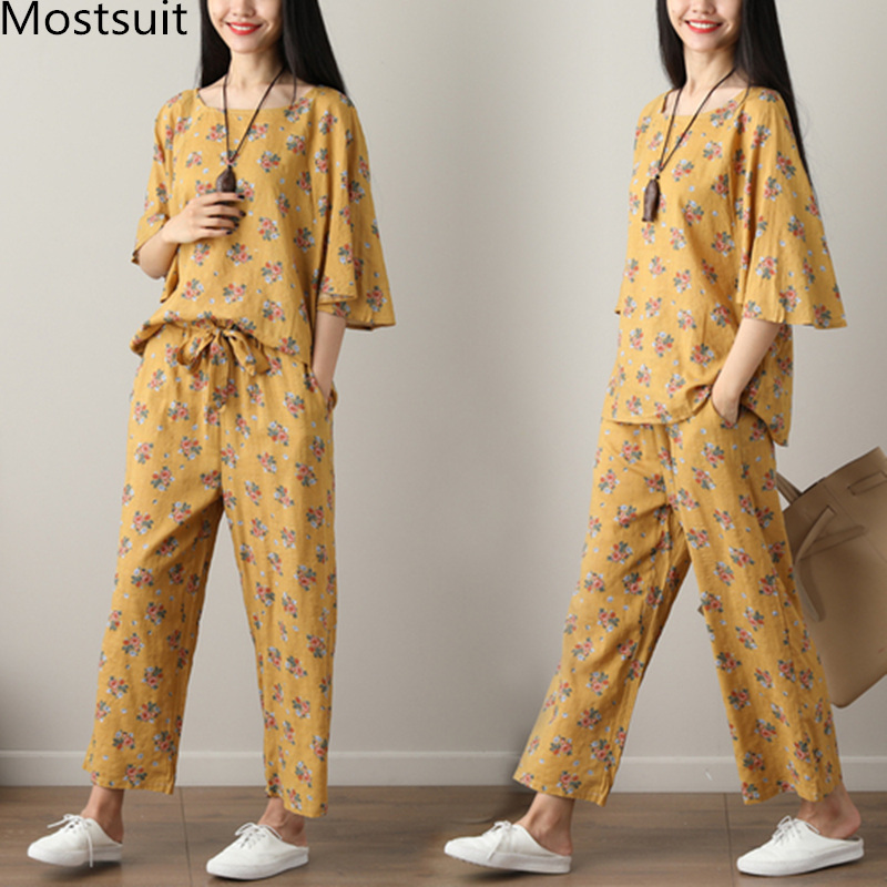 Summer Printed Cotton Linen Two Piece Sets Women Batwing Sleeve Tops And Wide Leg Pants Sets Suits Casual Loose Vintag Sets 2019 43
