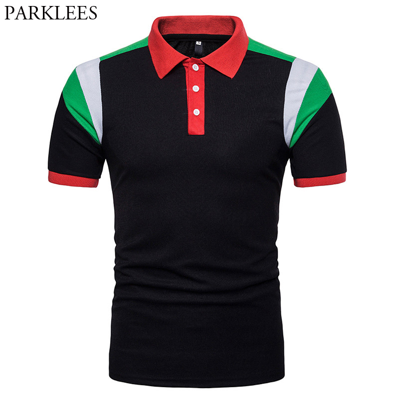 2018 New Arrival   Polo   Shirts Men Brand Patchwork Short Sleeve   Polo   Homme Man Casual Turn Down Collar Tops   Polos   Man Streetwear