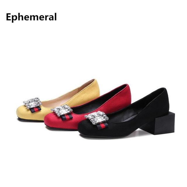 Cristal vintage novedad, zapatos mujer tacón cuadrado con bombas flock, punta redonda.