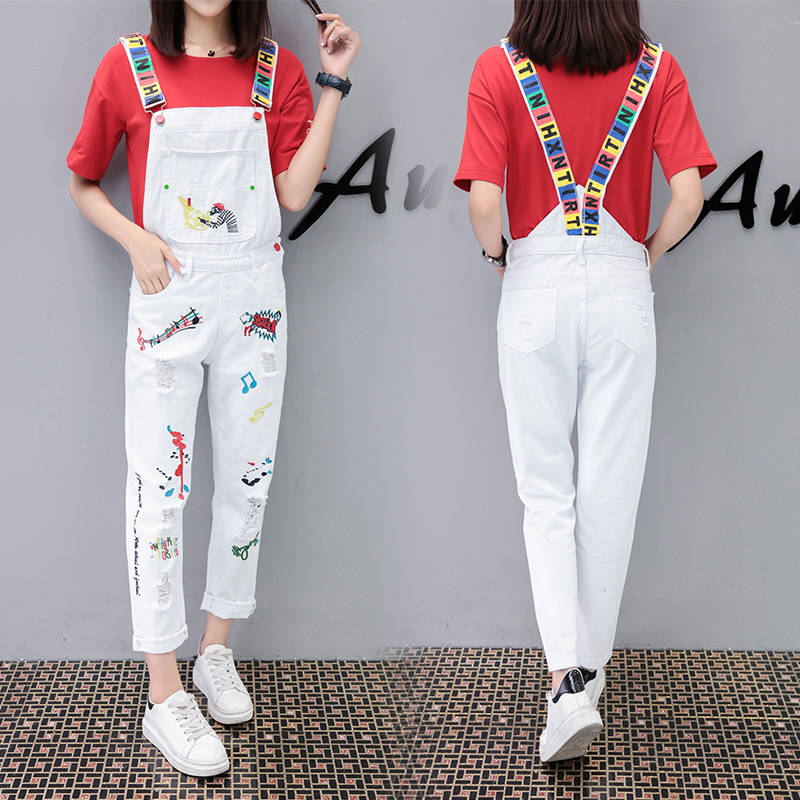 f7a2e6614 2019 Spring Autumn White Denim Jumpsuit Womens Loose Denim Overalls ...