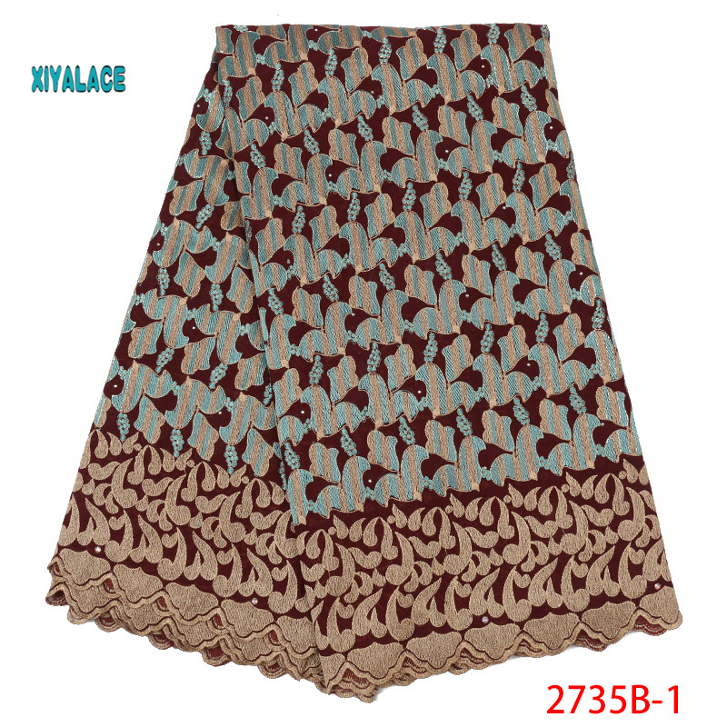 African Lace Fabrics Swiss Voile Lace 2019 Nigerian High Quality French Stones Voile Lace Switzerland For Wedding YA2735B-1