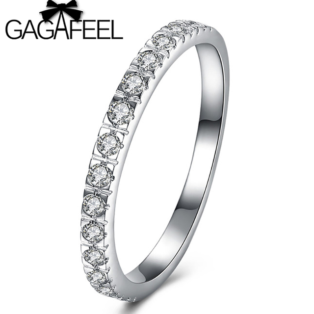 GAGAFEEL Thin Match Wedding Rings For Women Micro Pave AAA Cubic ...