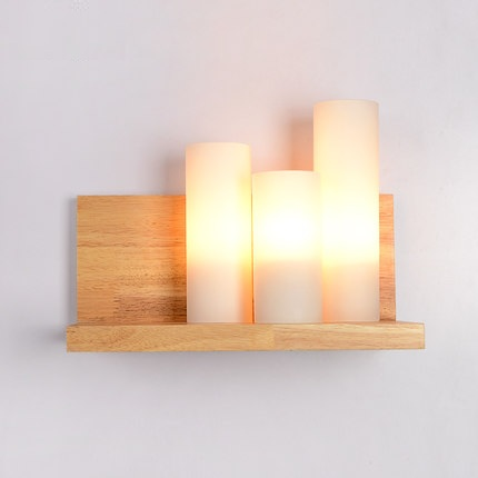 Loft Decor Wood Glass Wall Lamp Modern LED Wall Light Fixtures For Bedroom Bedside Wall Sconce Home Lighting Luminaire