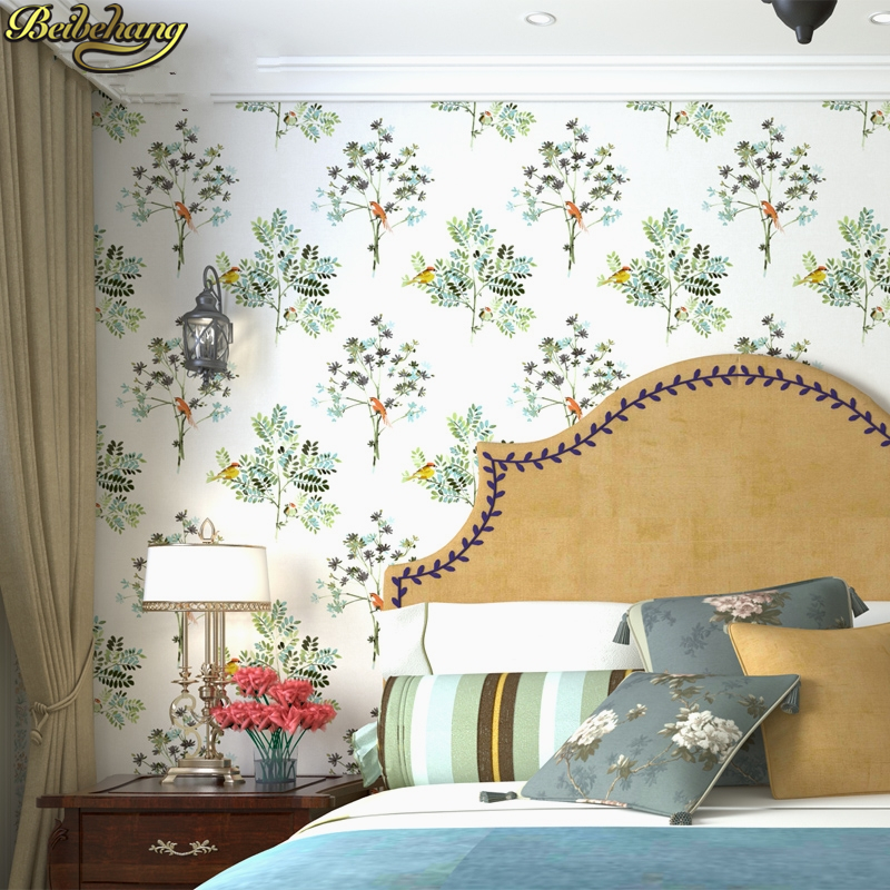 beibehang Small fresh garden flowers birds Wallpaper For Walls Decor 3D Wall paper Rolls Bedroom Living room Sofa TV Background beibehang american style flowers non woven wallpaper ab restaurant living room tv background wall paper flowers type