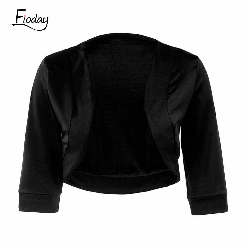 Fioday 3/4 Sleeve Shawl Women Open Stitch Coat Black Casual Jacket Vestidos Top Bolero Bridal Dress Coat Crop Tops