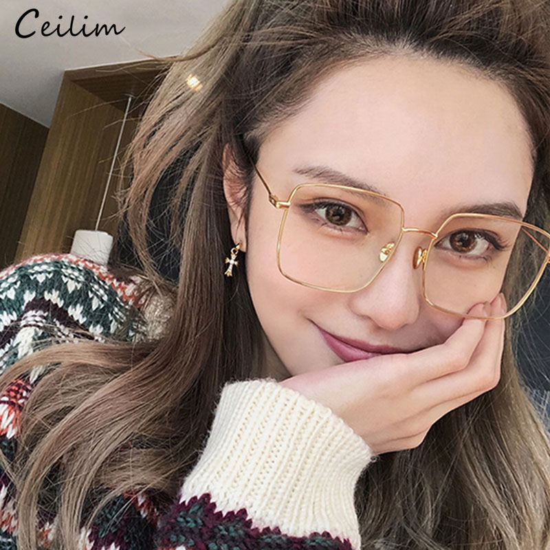 Korean Fashion Square Clear Glasses Women 2019 New Oversized Eyewear Spectacle Frames Transparent Oculos Eyeglasses Fake Glasses