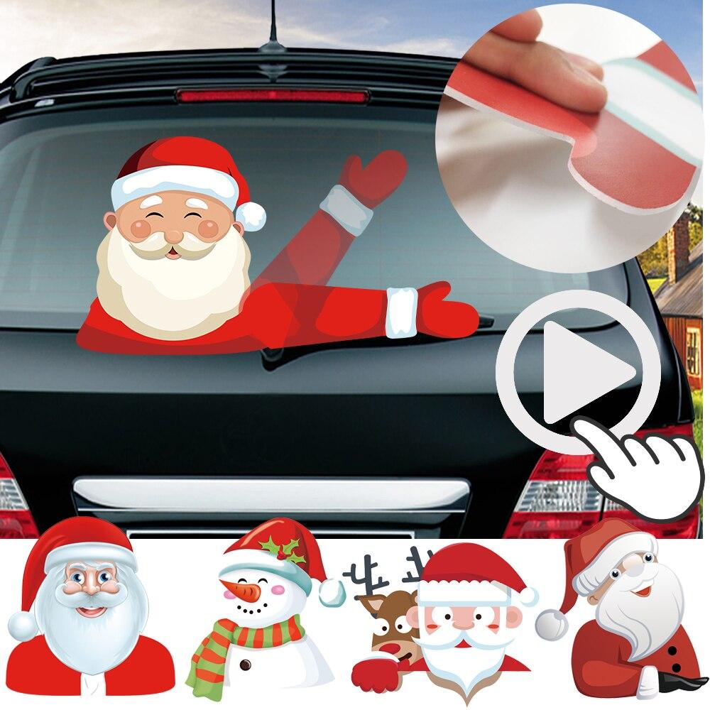 Decals  Santa Claus Rear Window Car Christmas Decal Waving Wiper Sticker