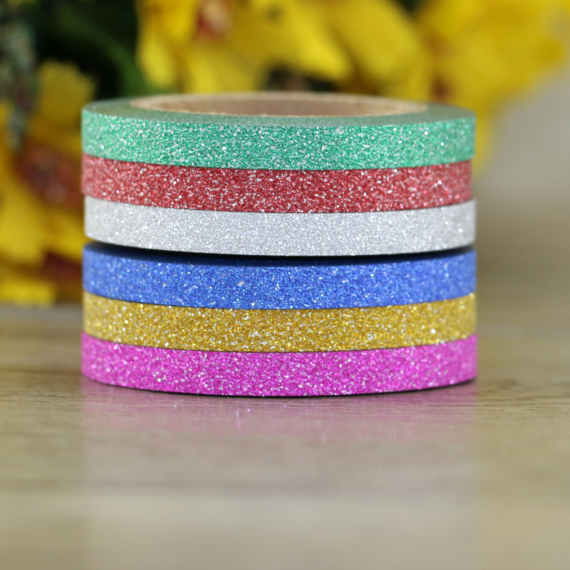 6pcs/Set Solid Colors Glitter Tape 5mm X 6.5m Scrapbooking Tools Kawaii Decorative Masking Washi Tape Paper Stationery Tape